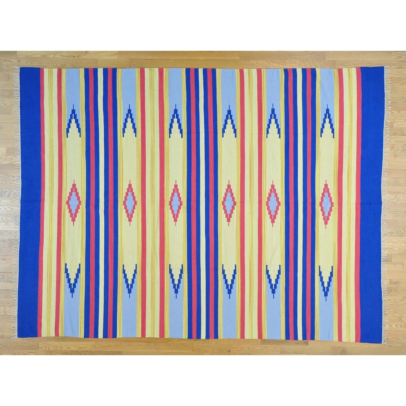 Hand Knotted Multicolored Flat Weave with Cotton Oriental Rug - 810 x 12