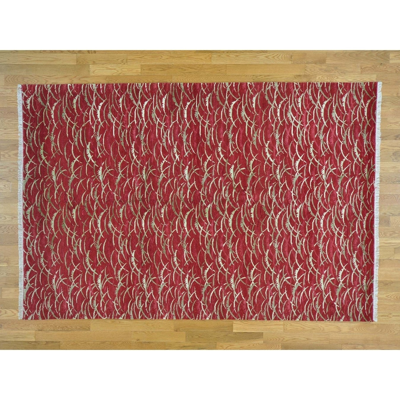 Hand Knotted Red Clearance with Wool & Silk Oriental Rug - 6 x 9