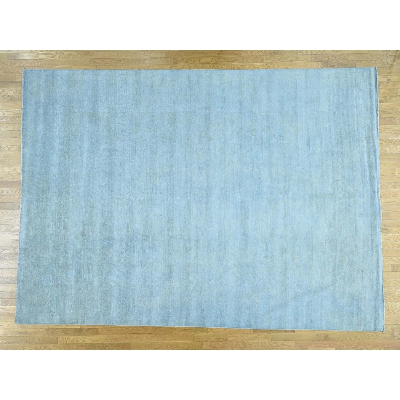 Hand Knotted Blue White Wash Vintage & Silver Wash with Wool Oriental Rug - 910 x 135