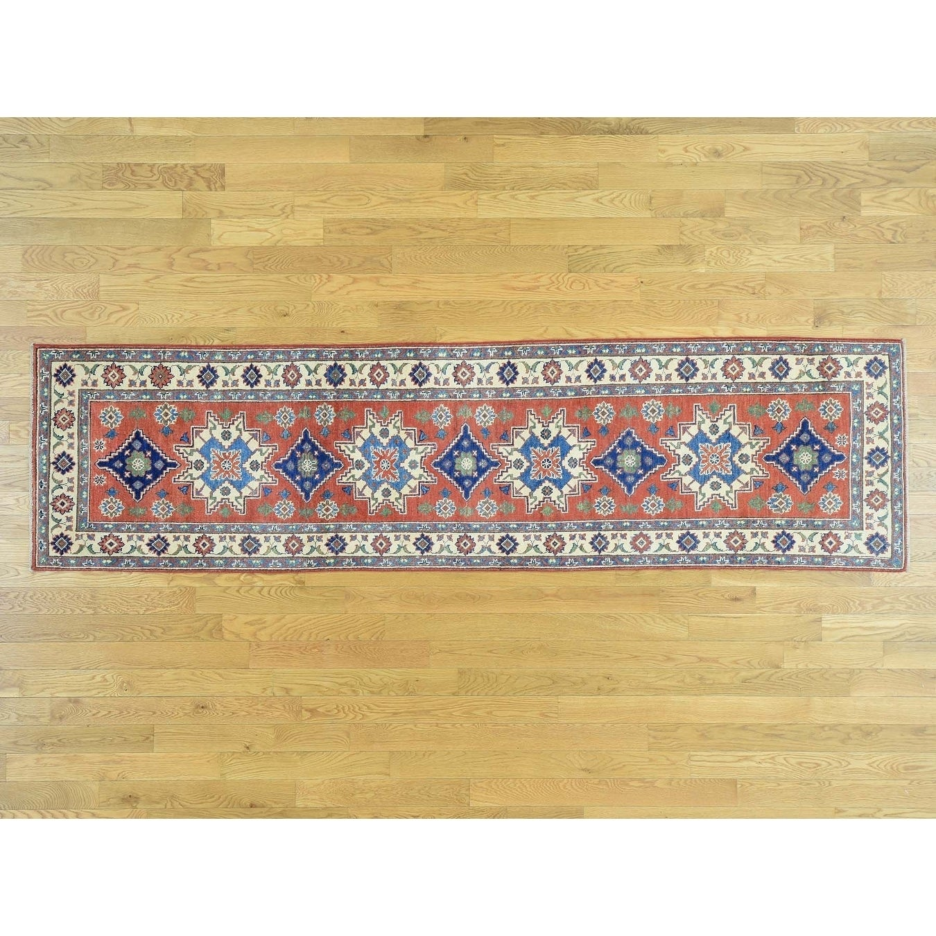 Hand Knotted Red Kazak with Wool Oriental Rug - 27 x 10
