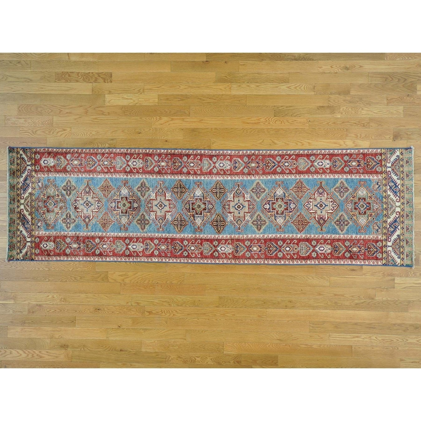 Hand Knotted Blue Kazak with Wool Oriental Rug - 29 x 99