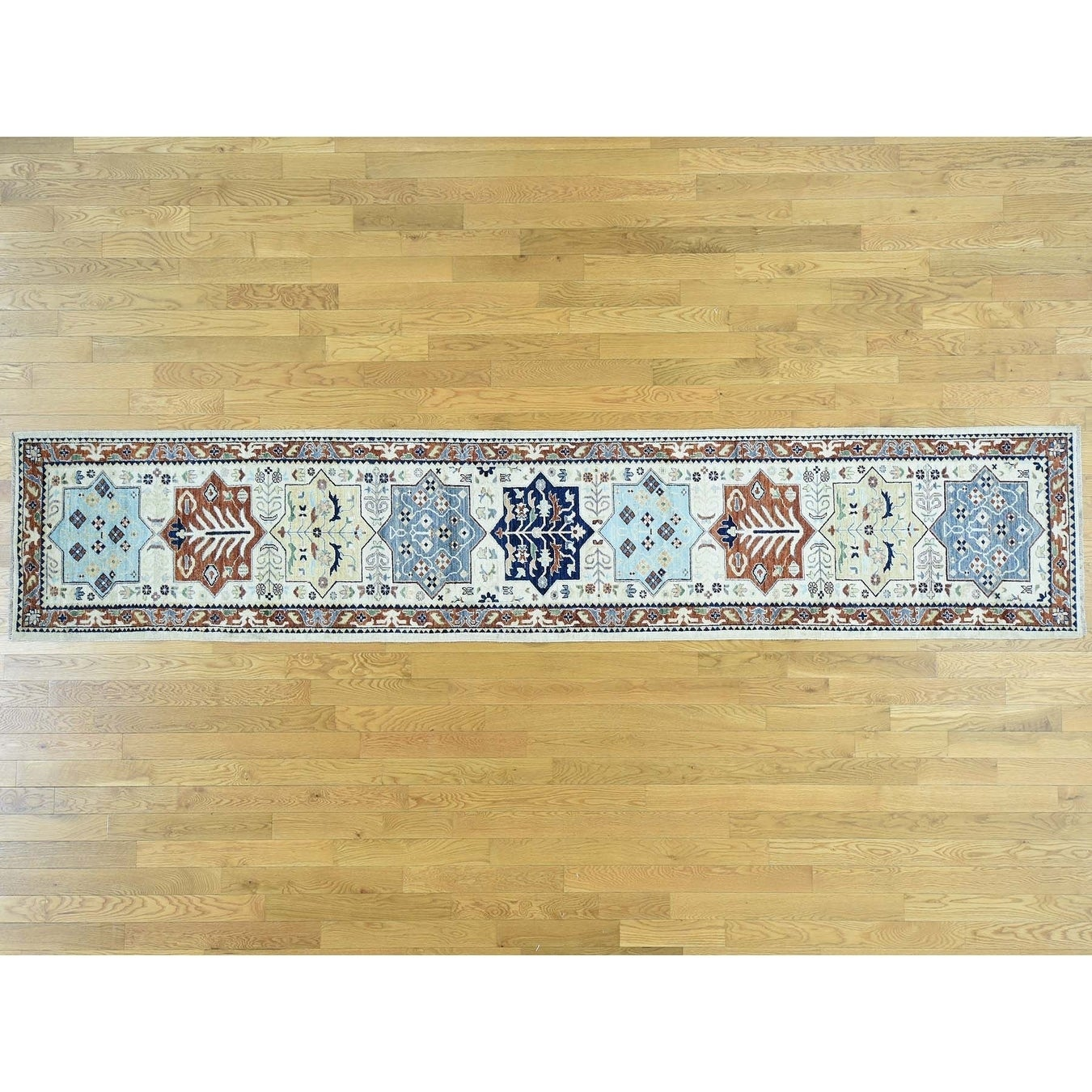 Hand Knotted Ivory Tribal & Geometric with Wool Oriental Rug