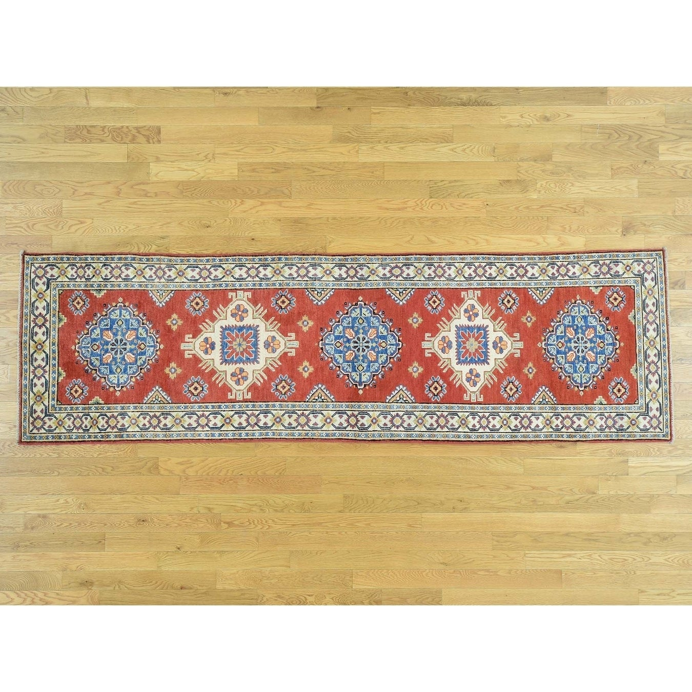 Hand Knotted Red Kazak with Wool Oriental Rug - 29 x 96