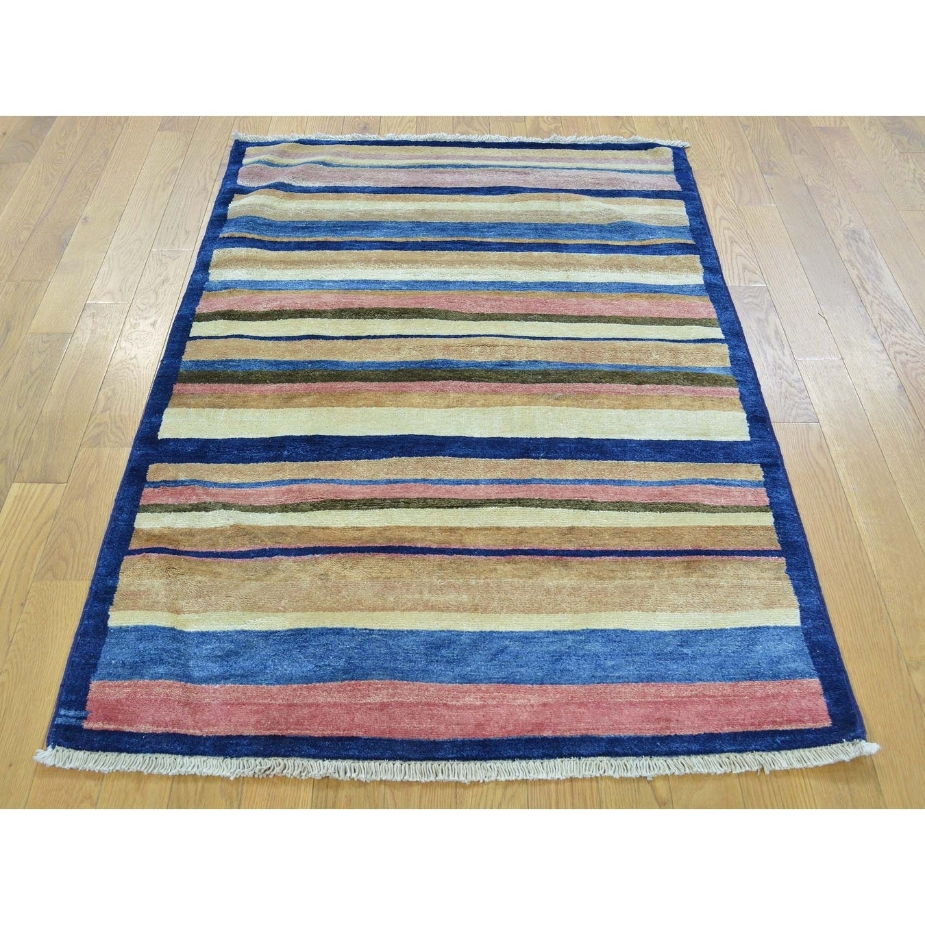 Hand Knotted Multicolored Clearance with Wool Oriental Rug - 33 X 5