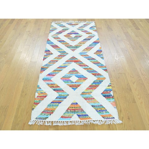 Hand Knotted Multicolored Flat Weave with Cotton Oriental Rug - 2'7 x 6'3 - 2'7 x 6'3
