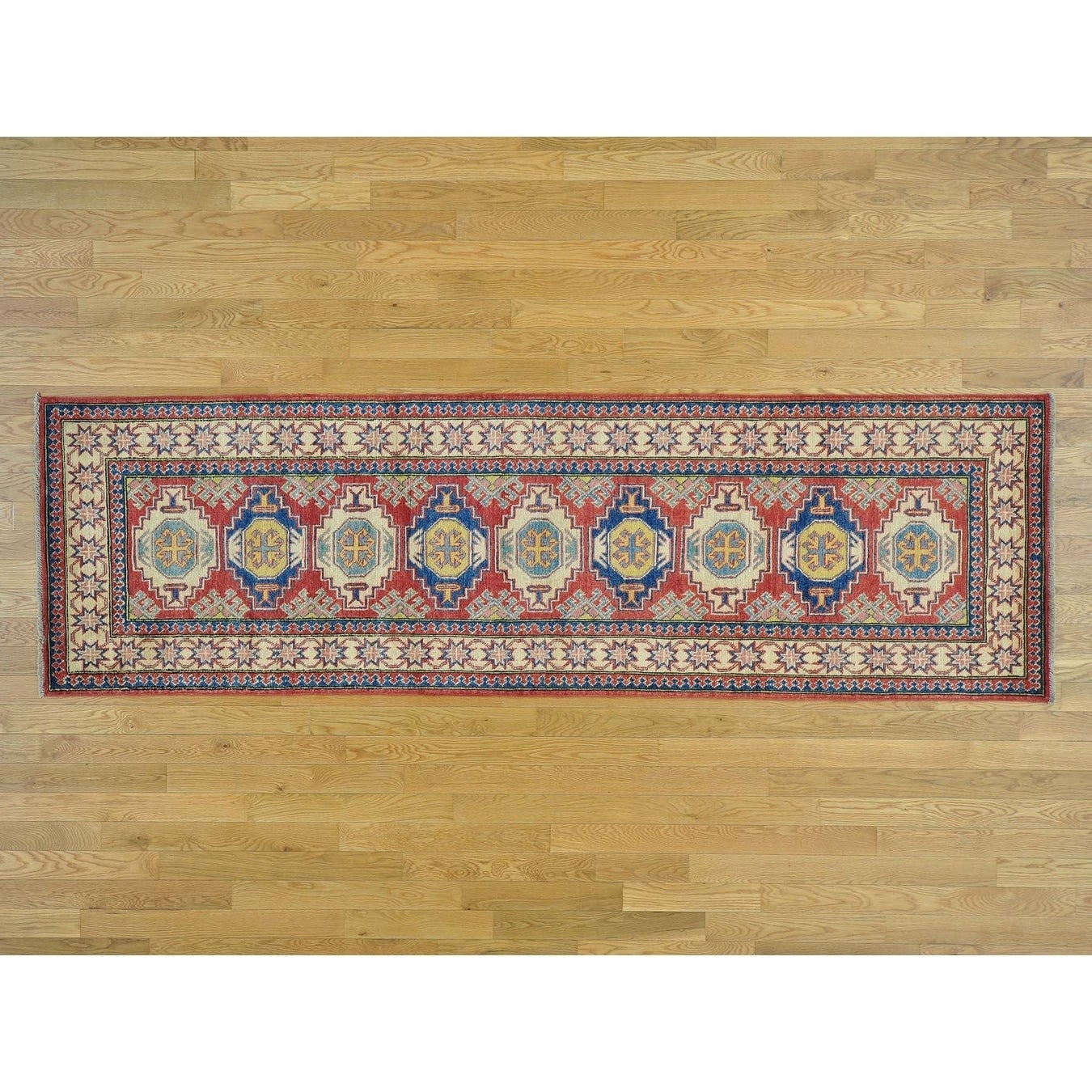 Hand Knotted Red Kazak with Wool Oriental Rug - 210 x 94