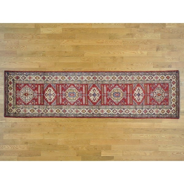 Hand Knotted Red Kazak with Wool Oriental Rug - 2'10 x 10'5