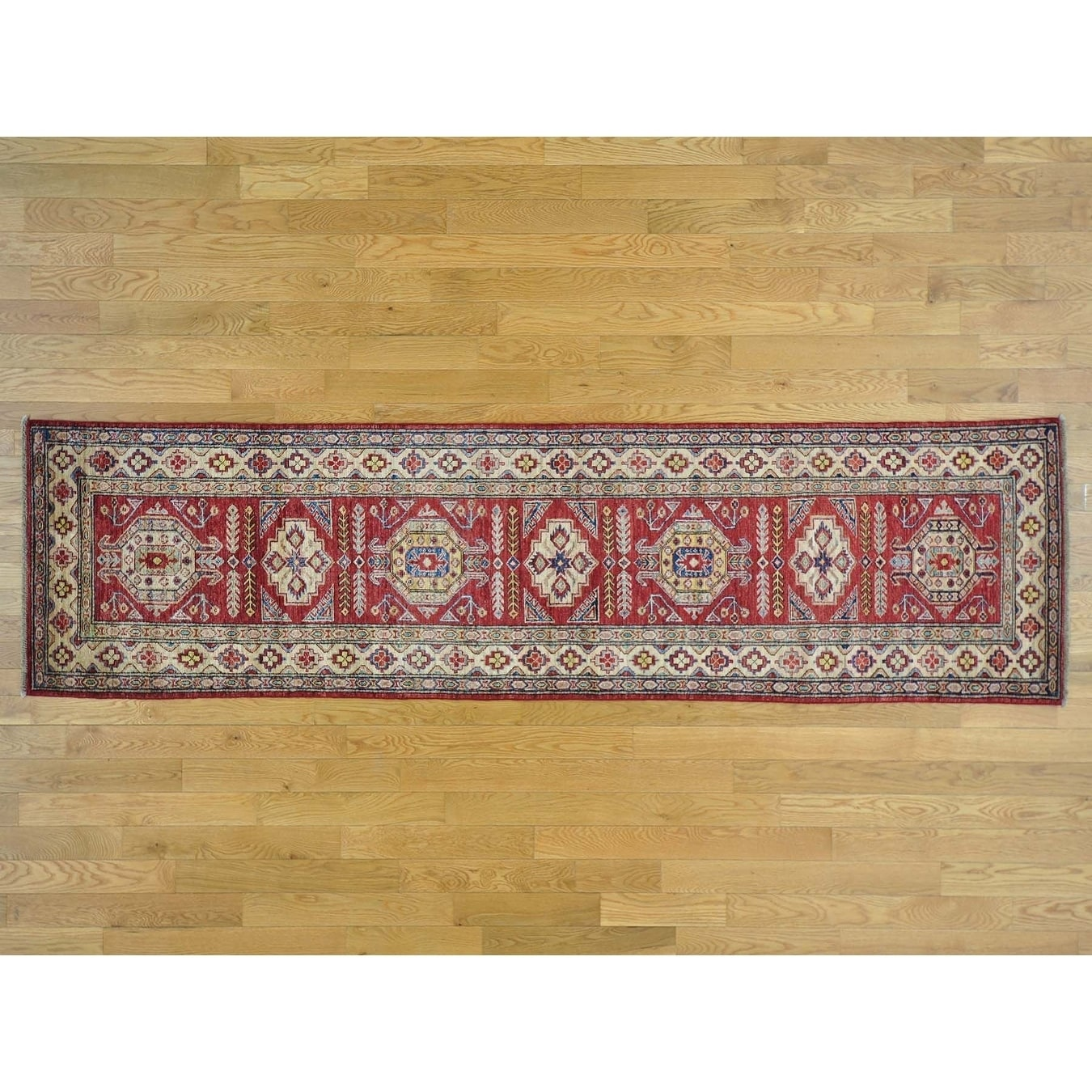 Hand Knotted Red Kazak with Wool Oriental Rug - 210 x 105