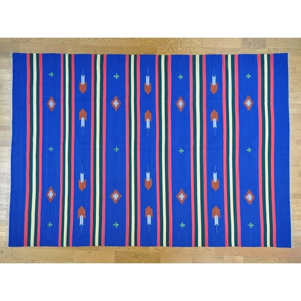 Hand Knotted Blue Flat Weave with Cotton Oriental Rug - 10' x 14'3