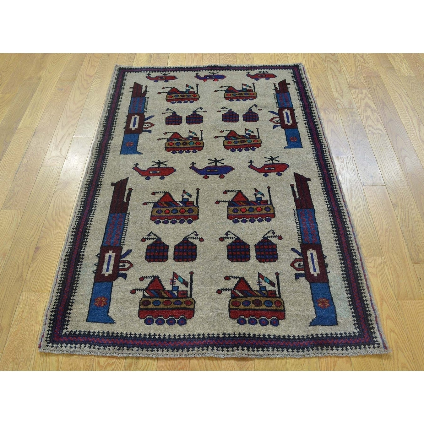 Hand Knotted Beige Tribal & Geometric with Wool Oriental Rug - 3 x 46