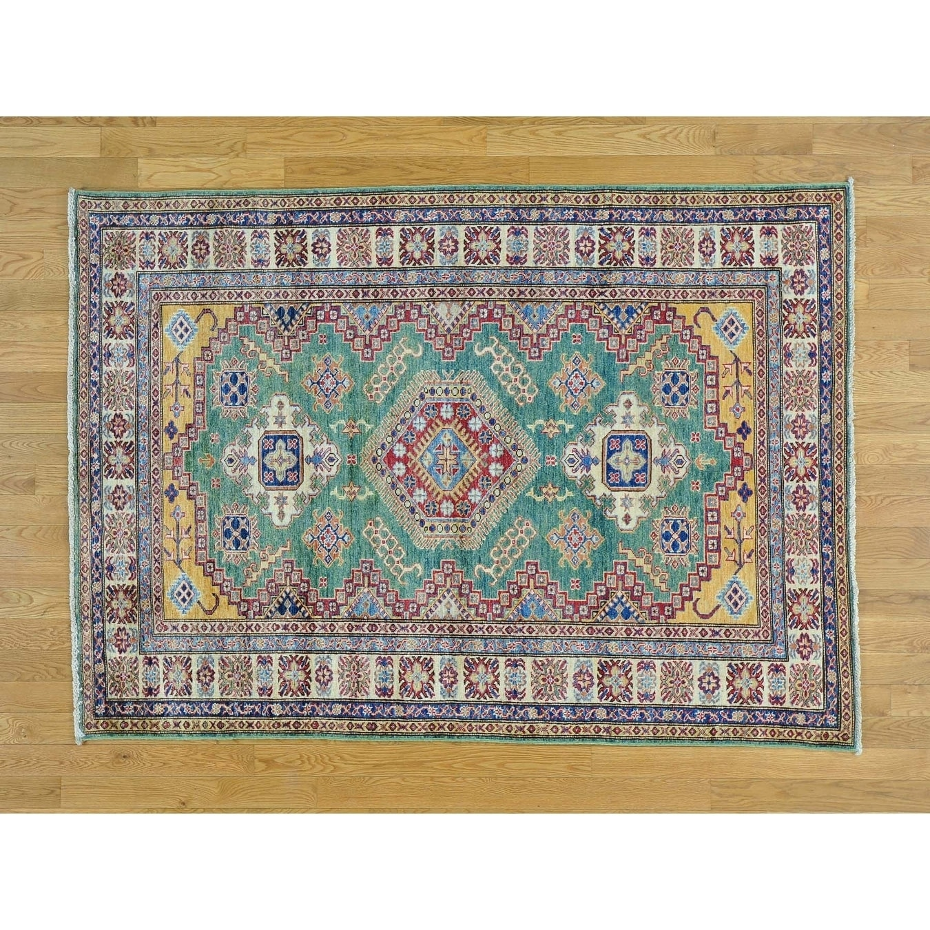 Hand Knotted Green Kazak with Wool Oriental Rug - 5 x 610