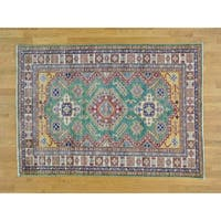 Hand Knotted Green Kazak with Wool Oriental Rug - 5' x 6'10