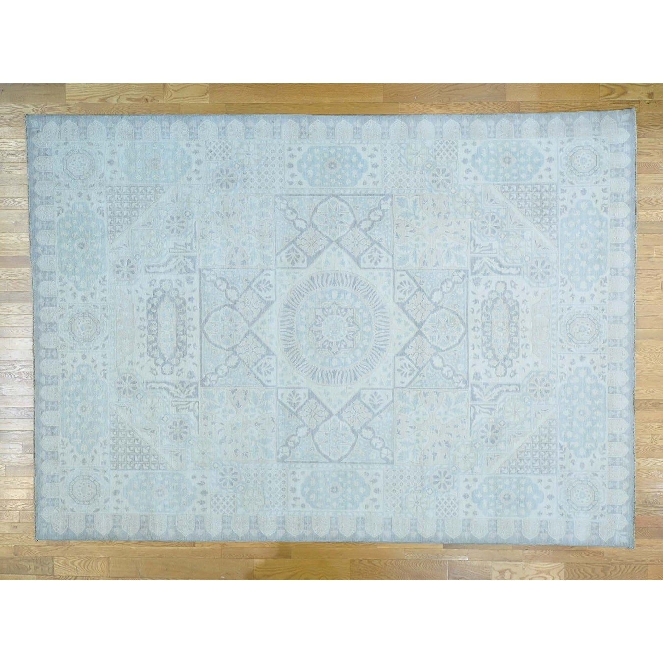 Hand Knotted Ivory Mamluk with Wool Oriental Rug - 10 x 1310