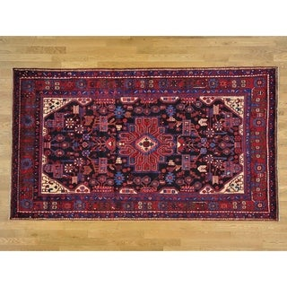 Hand Knotted Black Persian with Wool Oriental Rug - 5'4 x 9'4