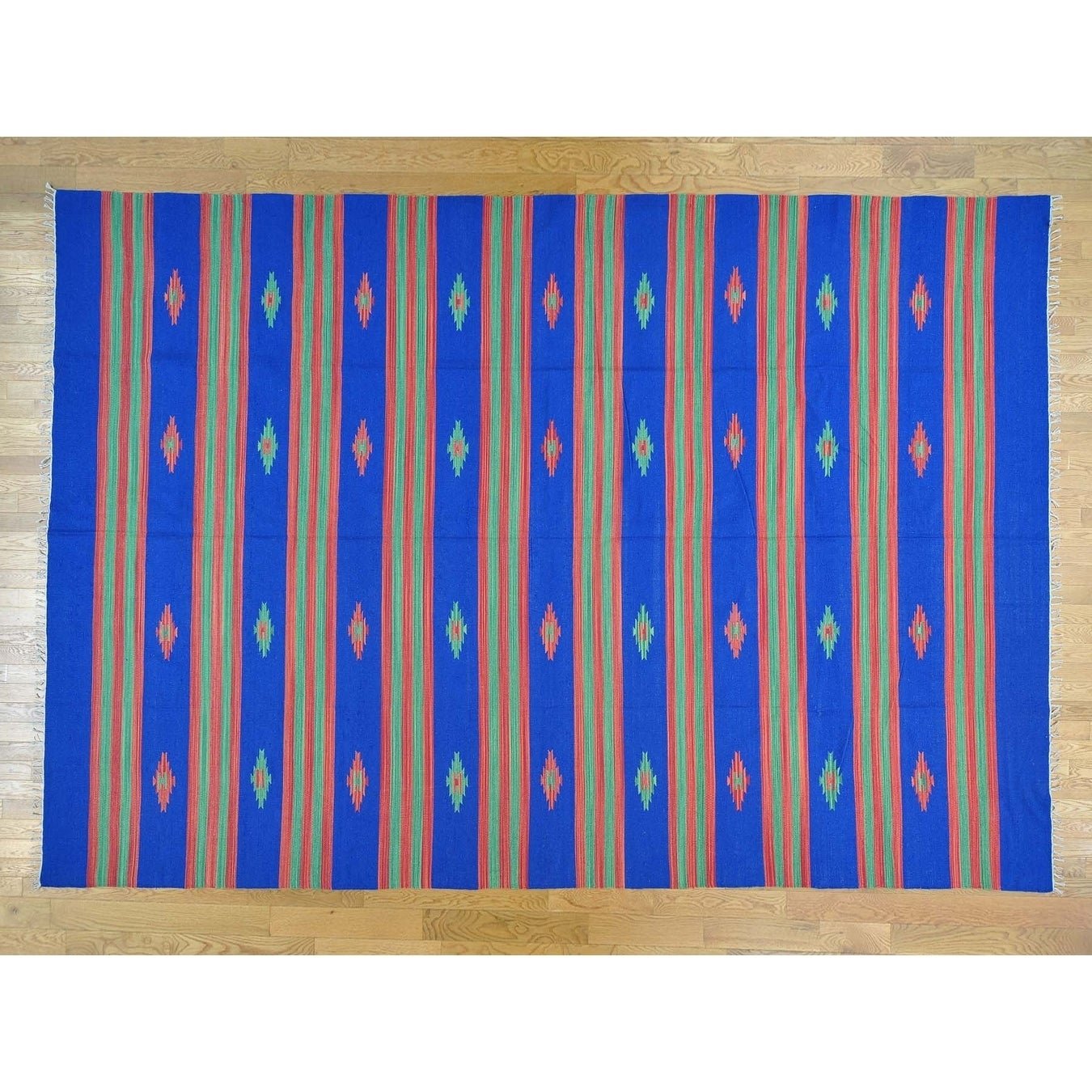 Hand Knotted Blue Flat Weave with Cotton Oriental Rug - 10 x 142