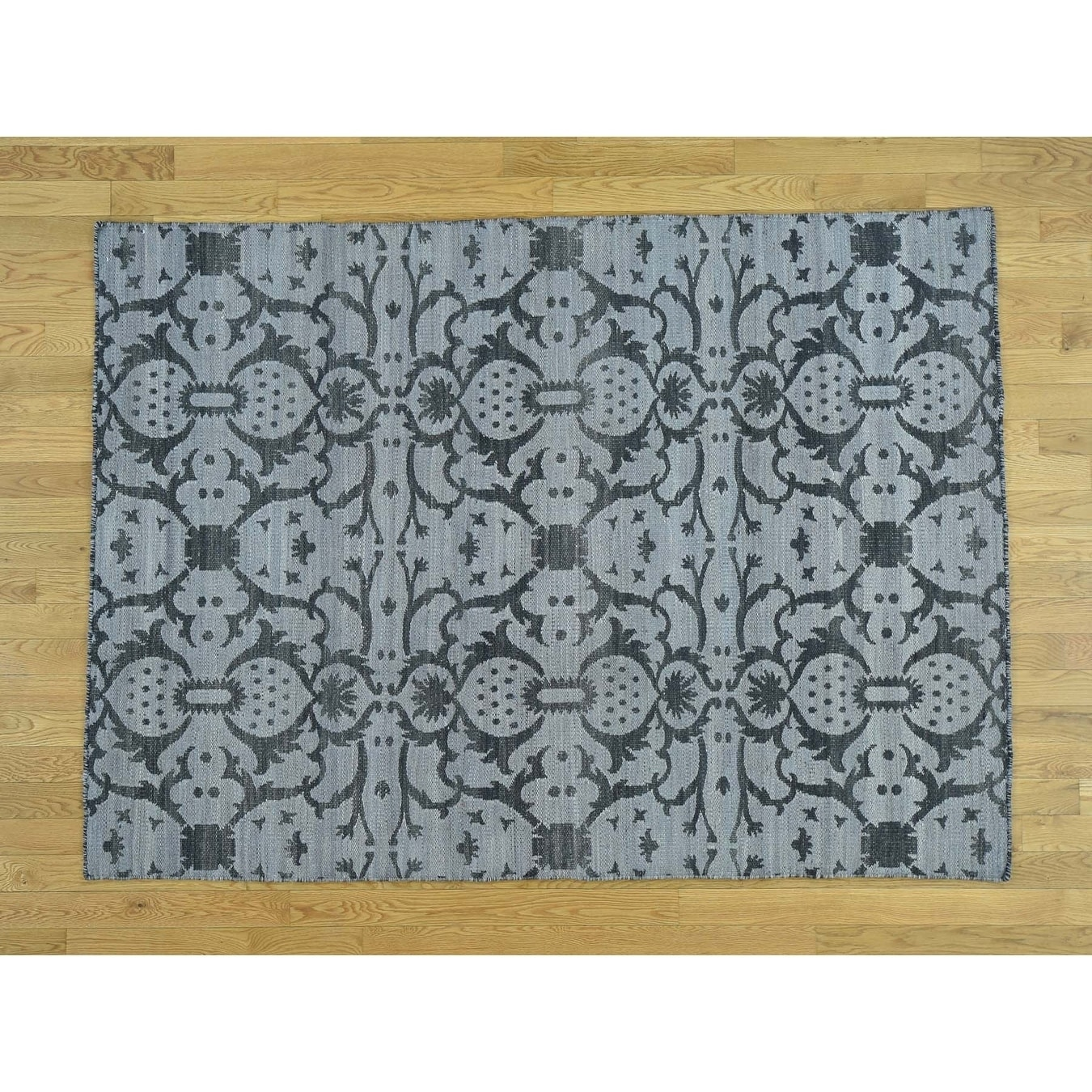 Hand Knotted Black Flat Weave with Wool Oriental Rug - 51 x 7