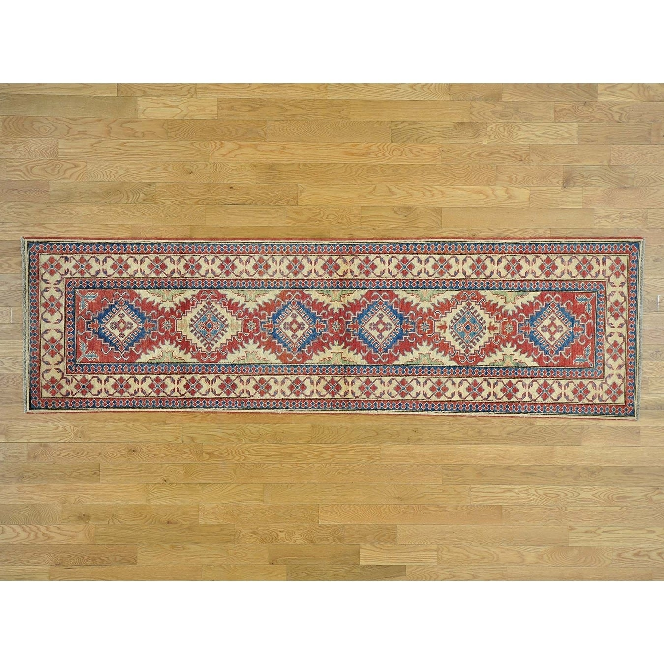 Hand Knotted Red Kazak with Wool Oriental Rug - 210 x 101