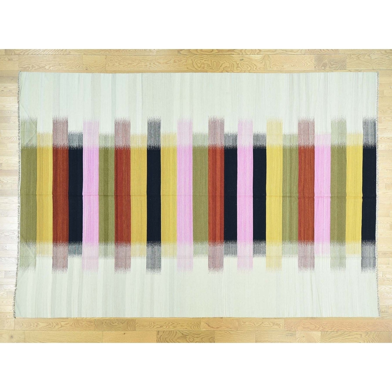 Hand Knotted Multicolored Flat Weave with Wool Oriental Rug - 10 x 146