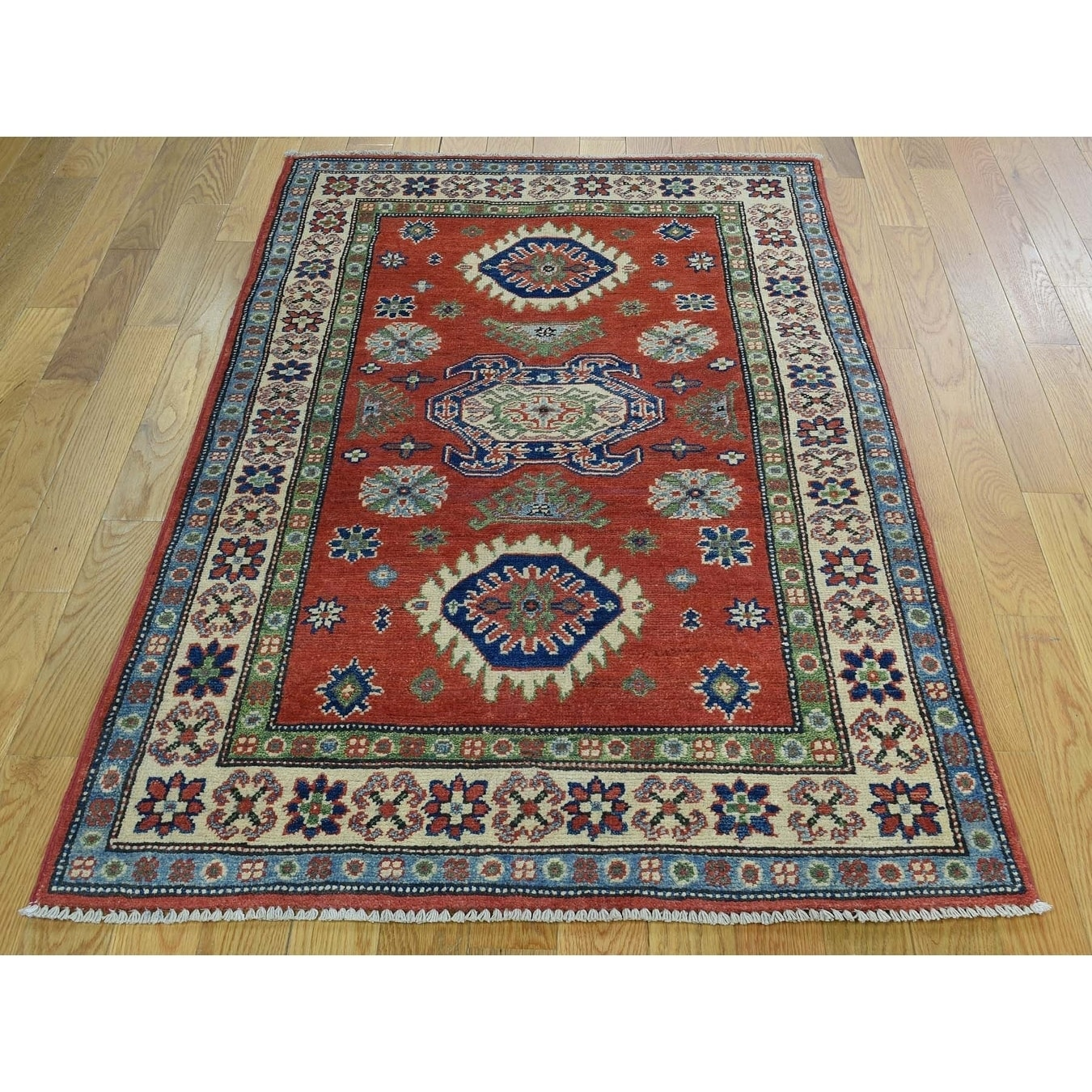 Hand Knotted Red Kazak with Wool Oriental Rug - 31 x 410