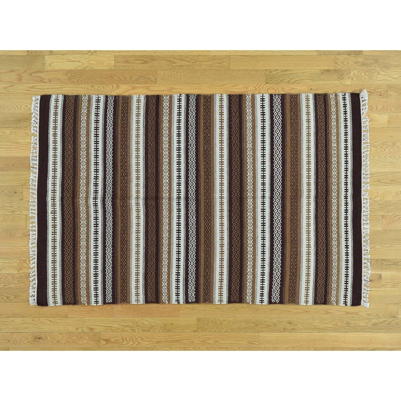 Hand Knotted Multicolored Flat Weave with Wool Oriental Rug - 4 x 6