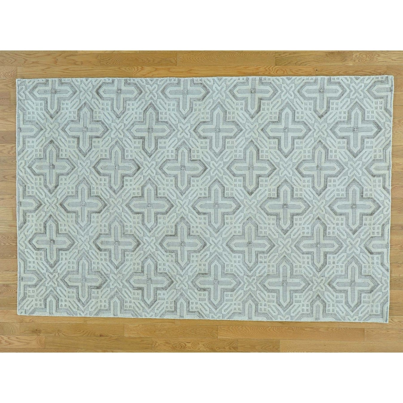 Hand Knotted Ivory Modern & Contemporary with Wool & Silk Oriental Rug - 51 x 710
