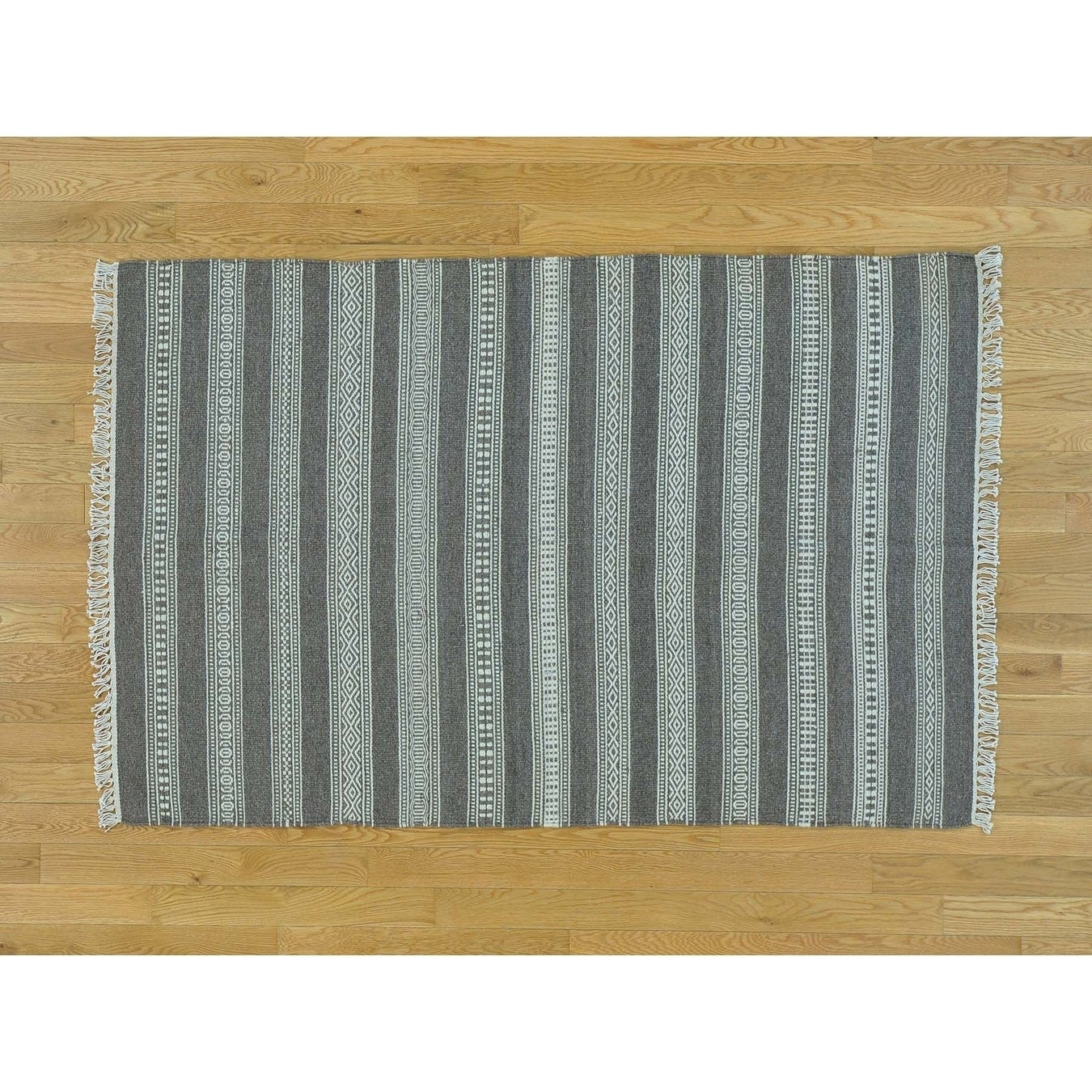 Hand Knotted Grey Flat Weave with Wool Oriental Rug - 310 x 510