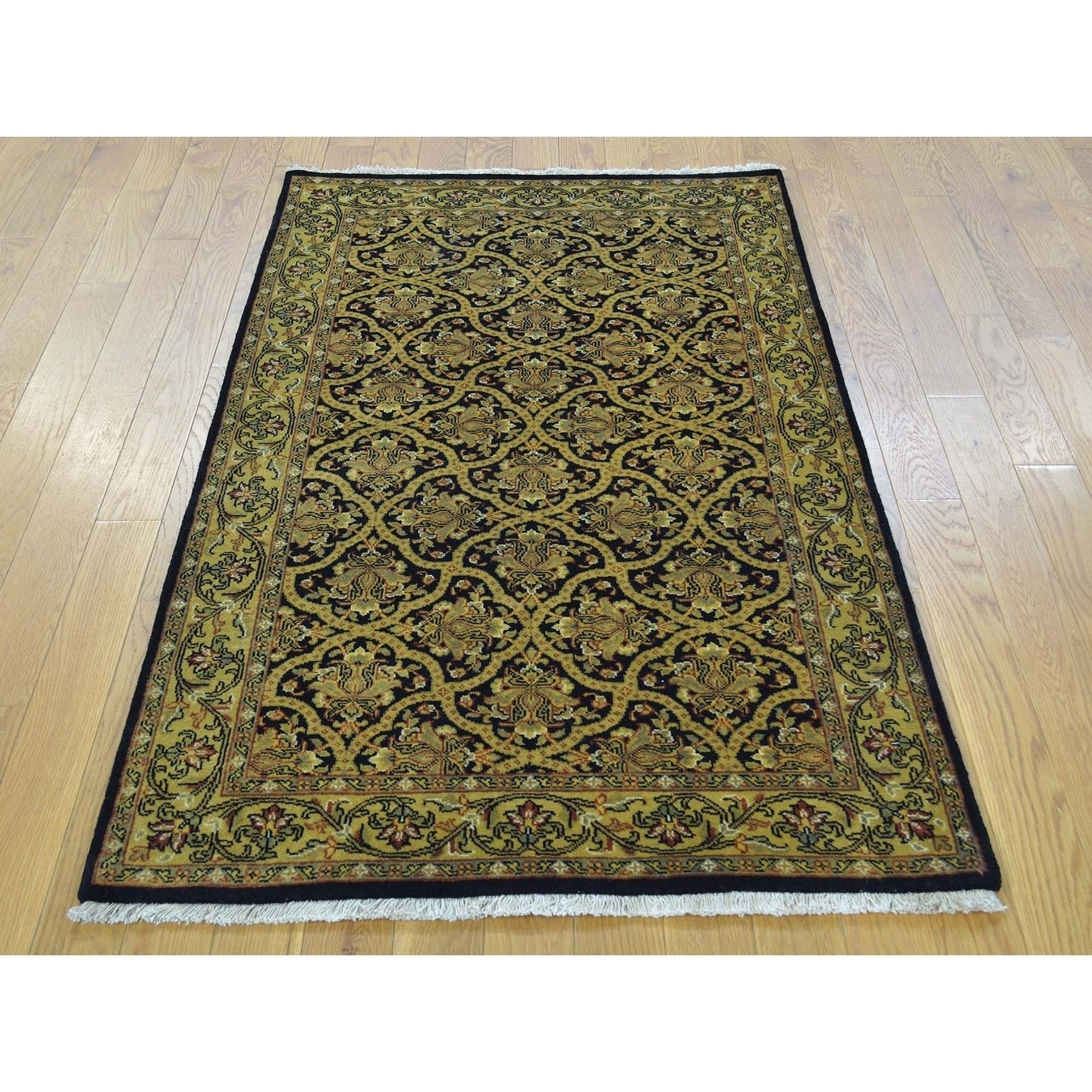 Hand Knotted Black Fine Oriental with New Zealand Wool Oriental Rug - 210 x 5
