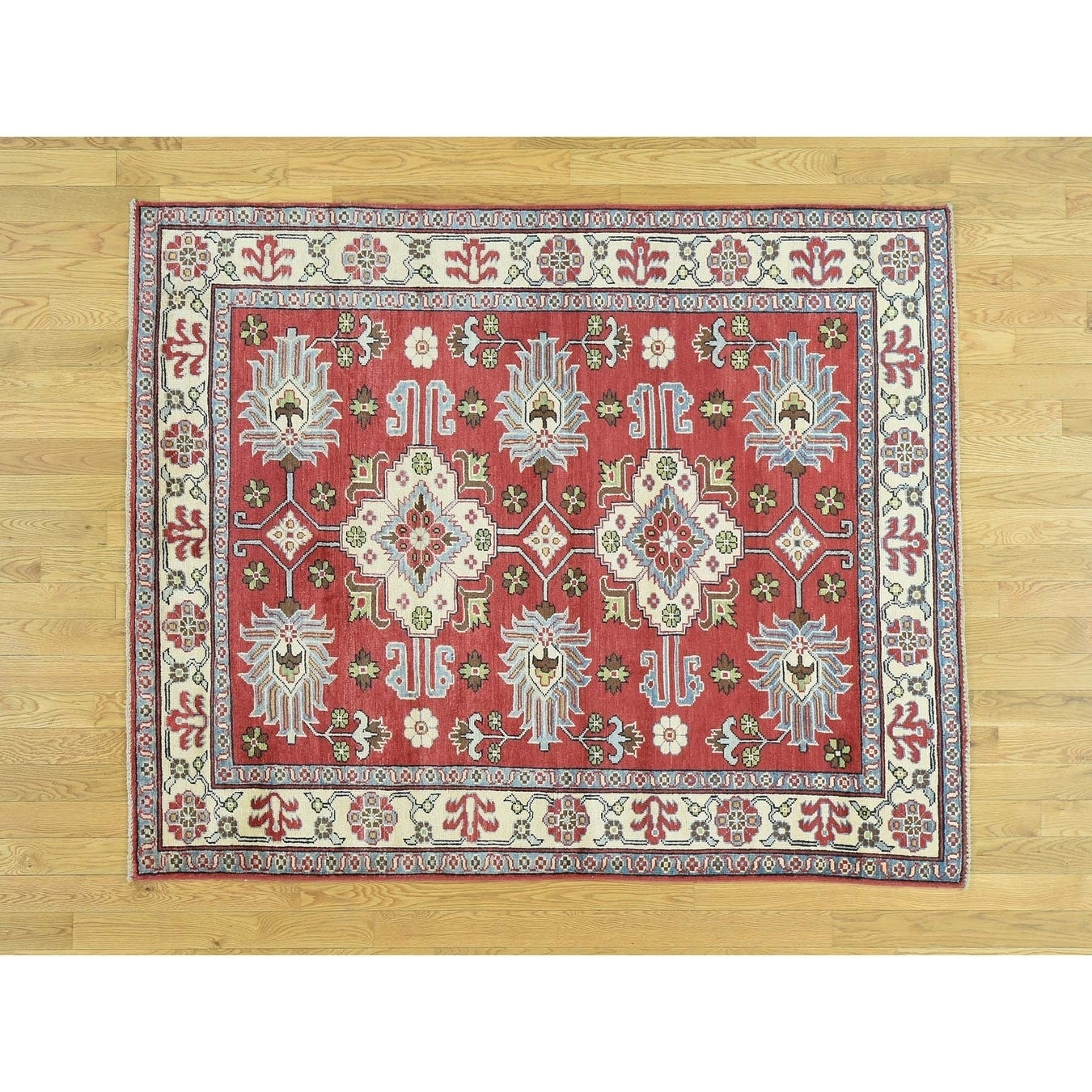 Hand Knotted Red Kazak with Wool Oriental Rug - 5 x 63