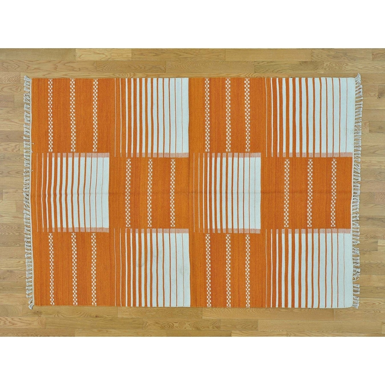 Hand Knotted Orange Flat Weave with Wool Oriental Rug - 54 x 78