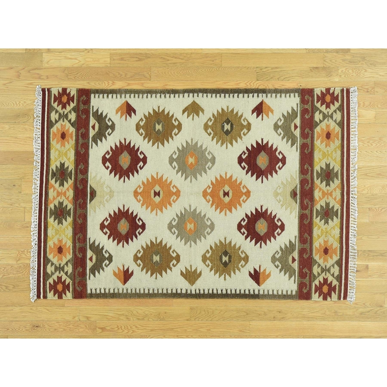 Hand Knotted Beige Flat Weave with Wool Oriental Rug - 41 x 6