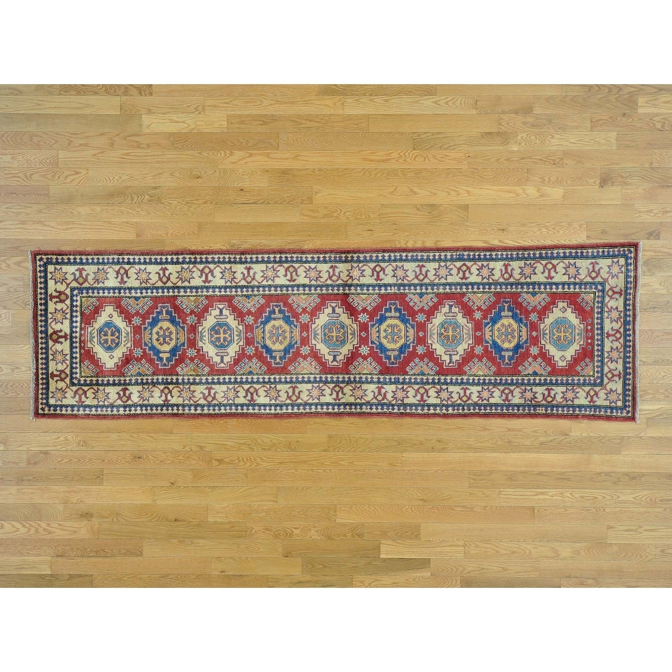 Hand Knotted Red Kazak with Wool Oriental Rug - 27 x 93