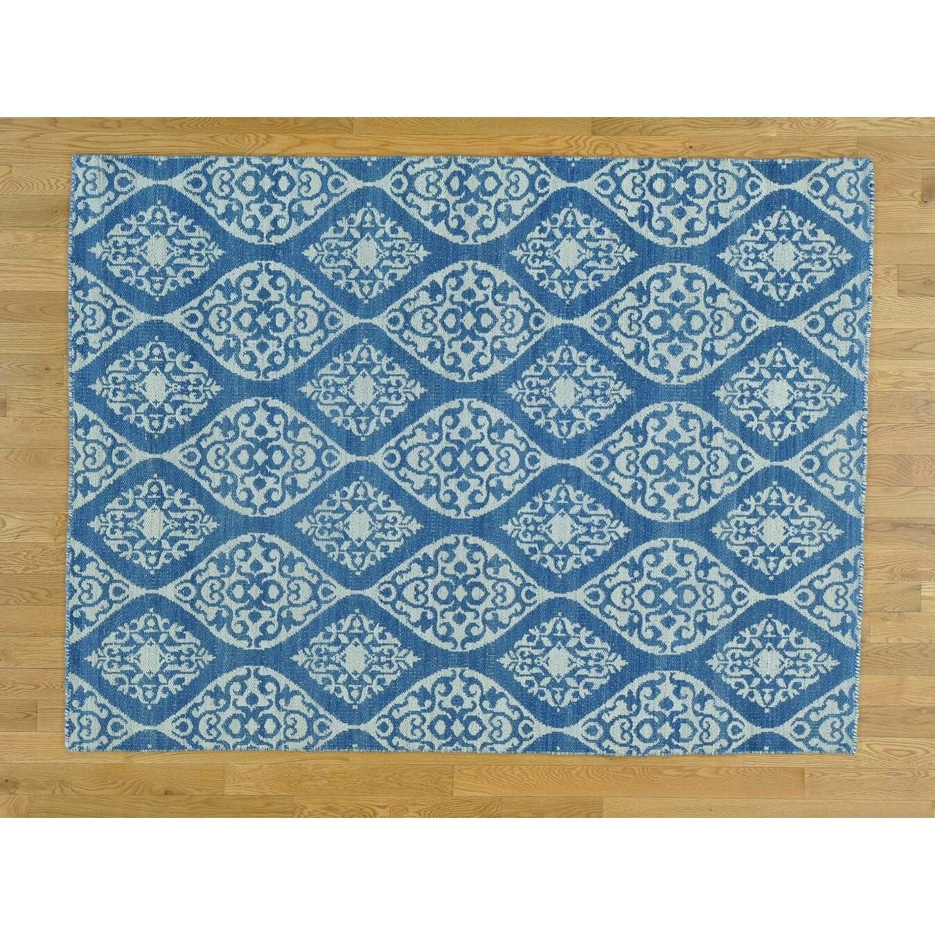 Hand Knotted Blue Flat Weave with Cotton Oriental Rug - 52 x 610