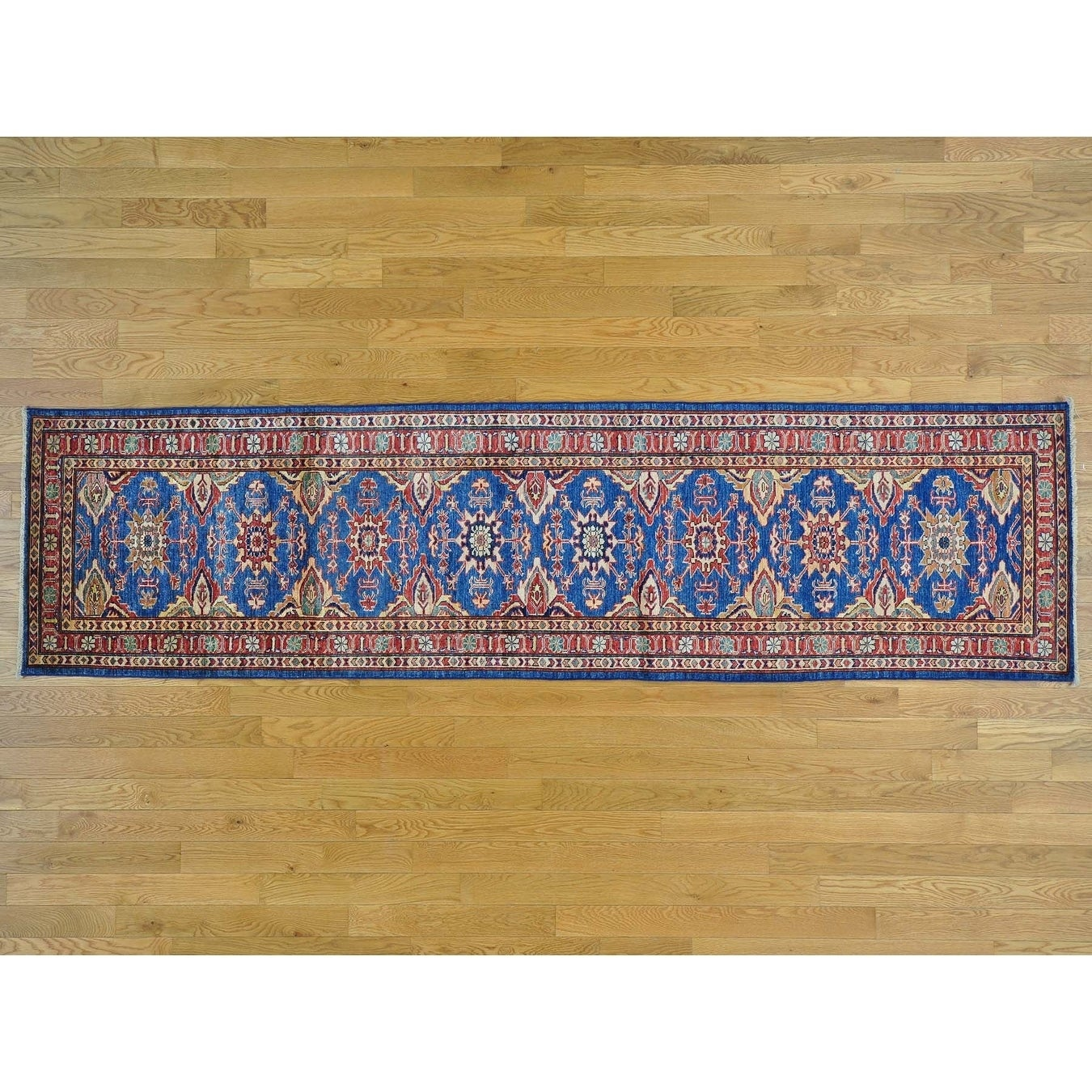 Hand Knotted Blue Kazak with Wool Oriental Rug - 28 x 102