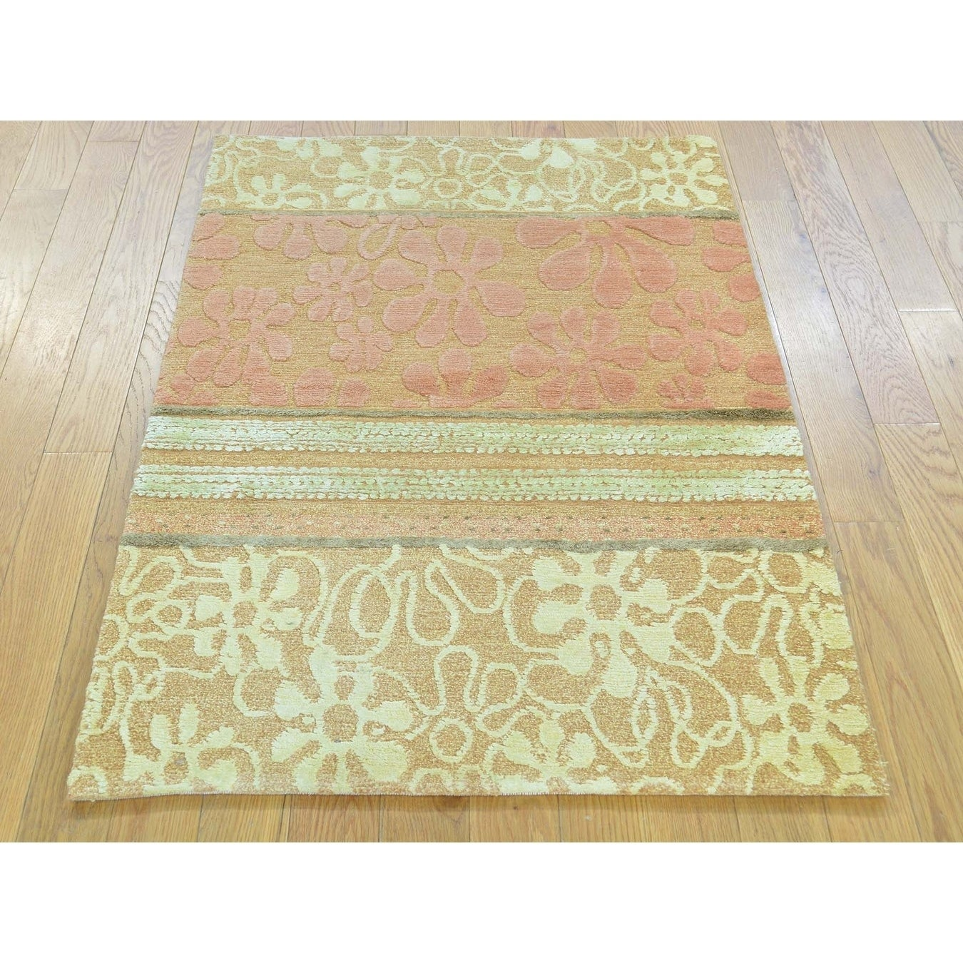 Hand Knotted Brown Modern & Contemporary with Wool & Silk Oriental Rug - 27 x 4