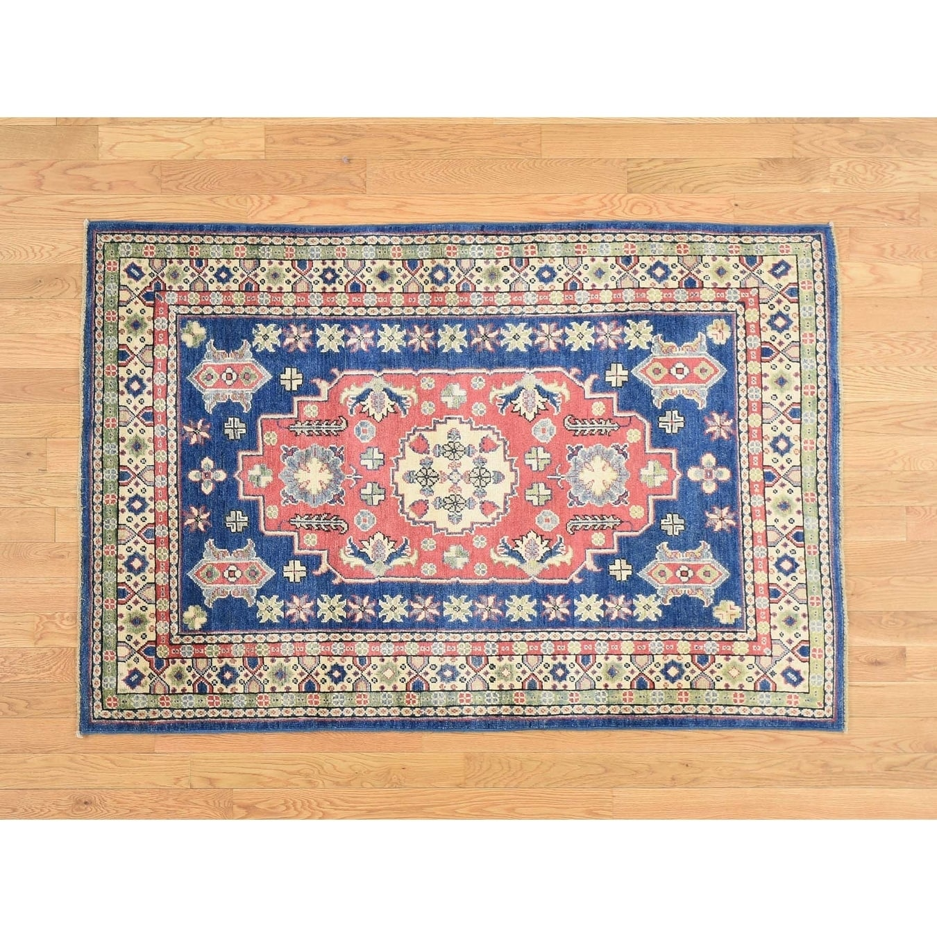 Hand Knotted Red Kazak with Wool Oriental Rug - 4 x 510