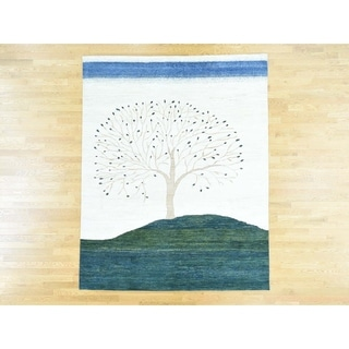 Hand Knotted Multicolored Modern & Contemporary with Wool Oriental Rug - 7'10 x 9'9