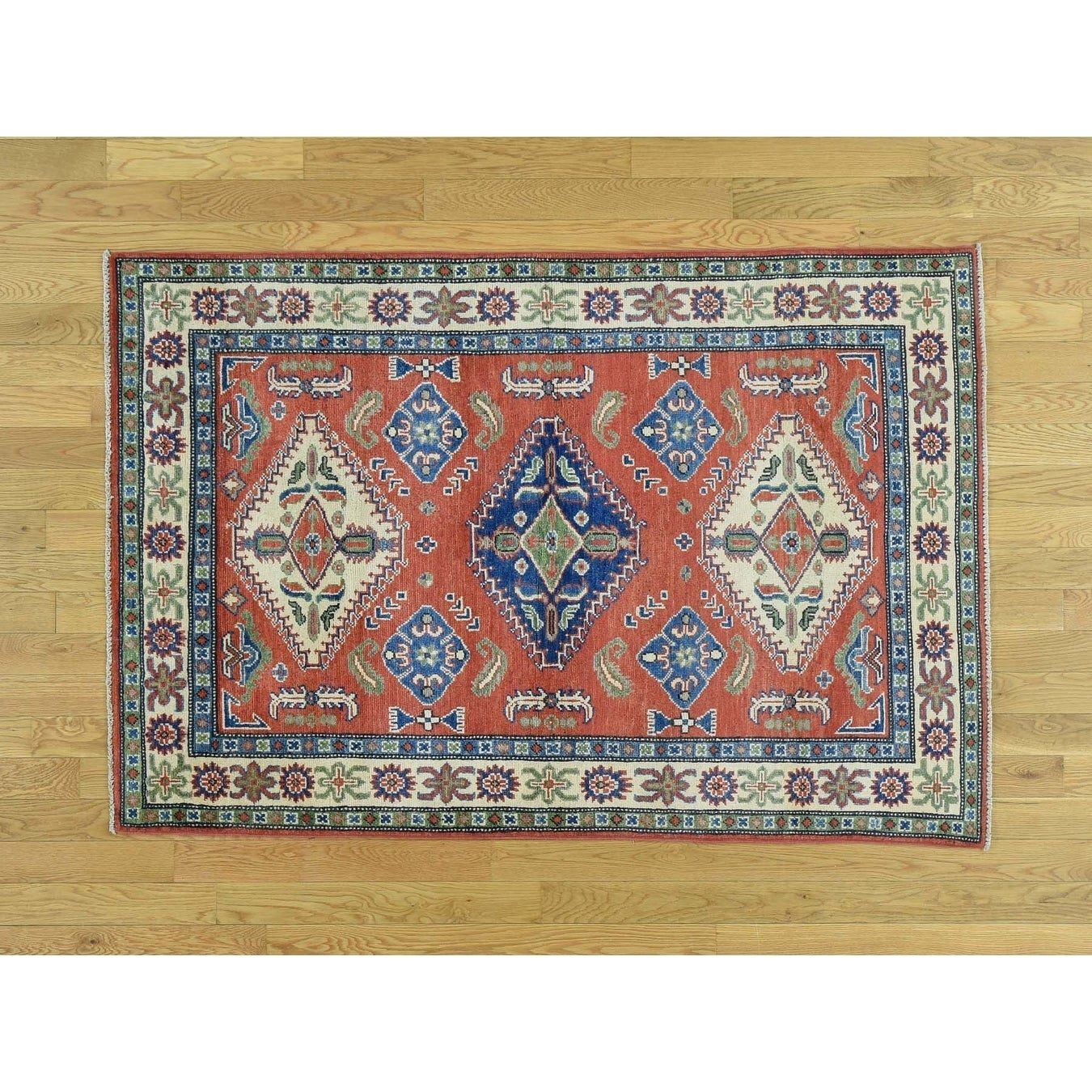 Hand Knotted Red Kazak with Wool Oriental Rug - 4 x 59