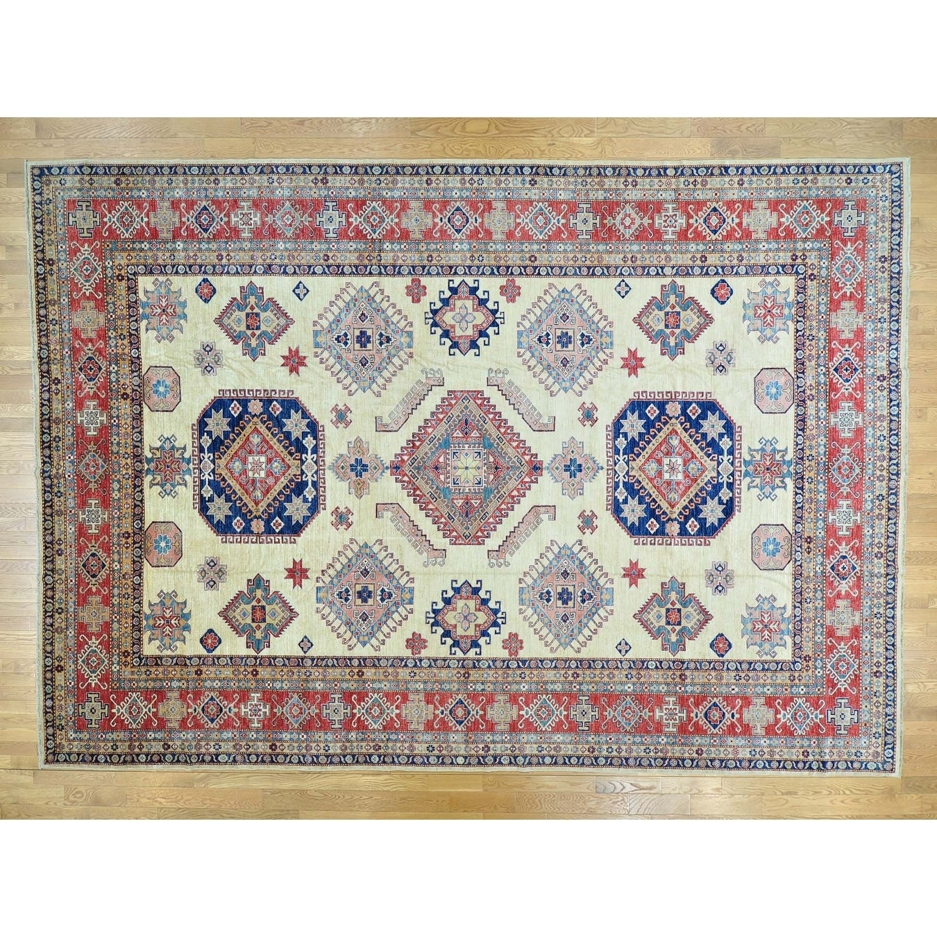 Hand Knotted Ivory Kazak with Wool Oriental Rug