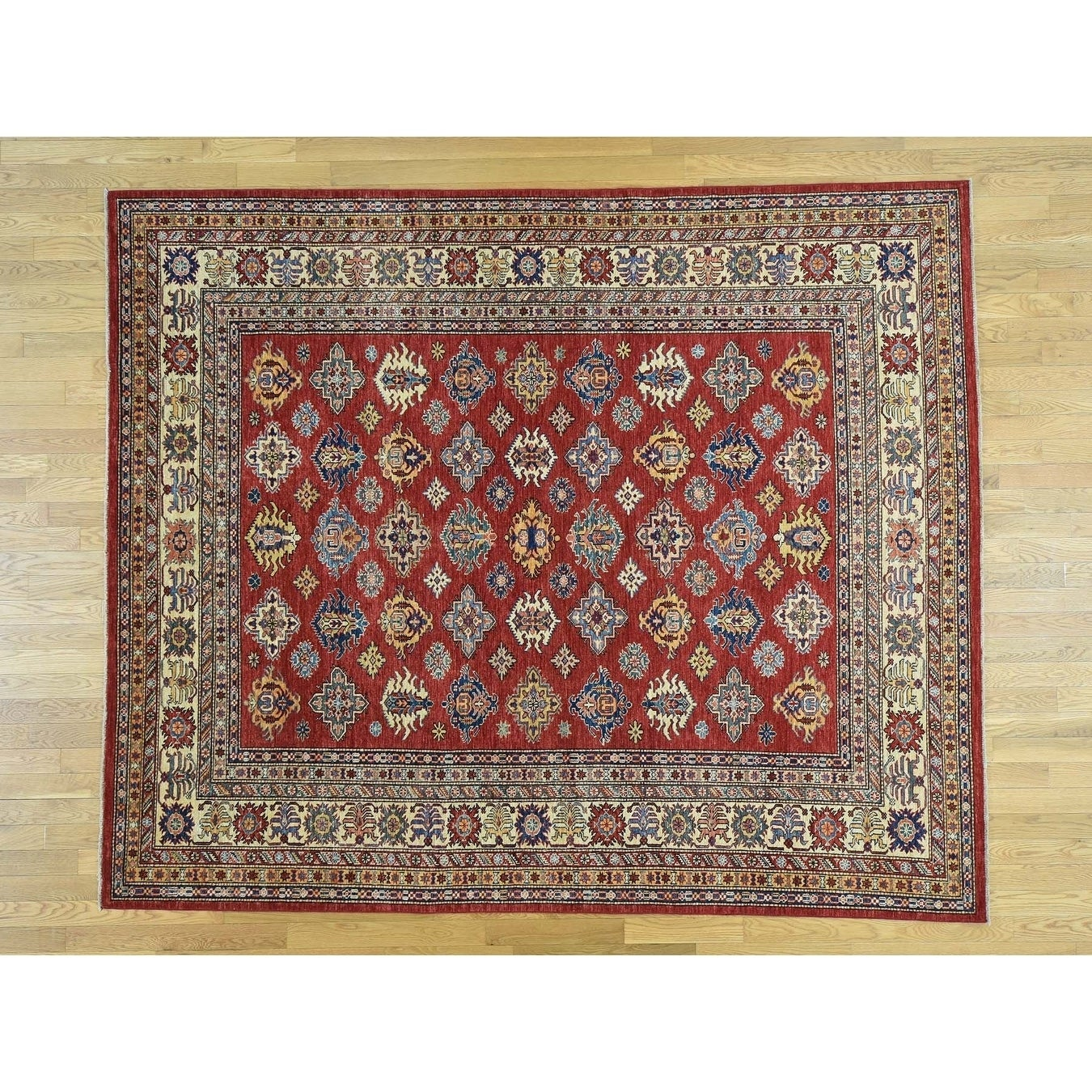 Hand Knotted Red Kazak with Wool Oriental Rug - 8 x 98