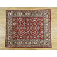 Hand Knotted Red Kazak with Wool Oriental Rug - 8' x 9'8