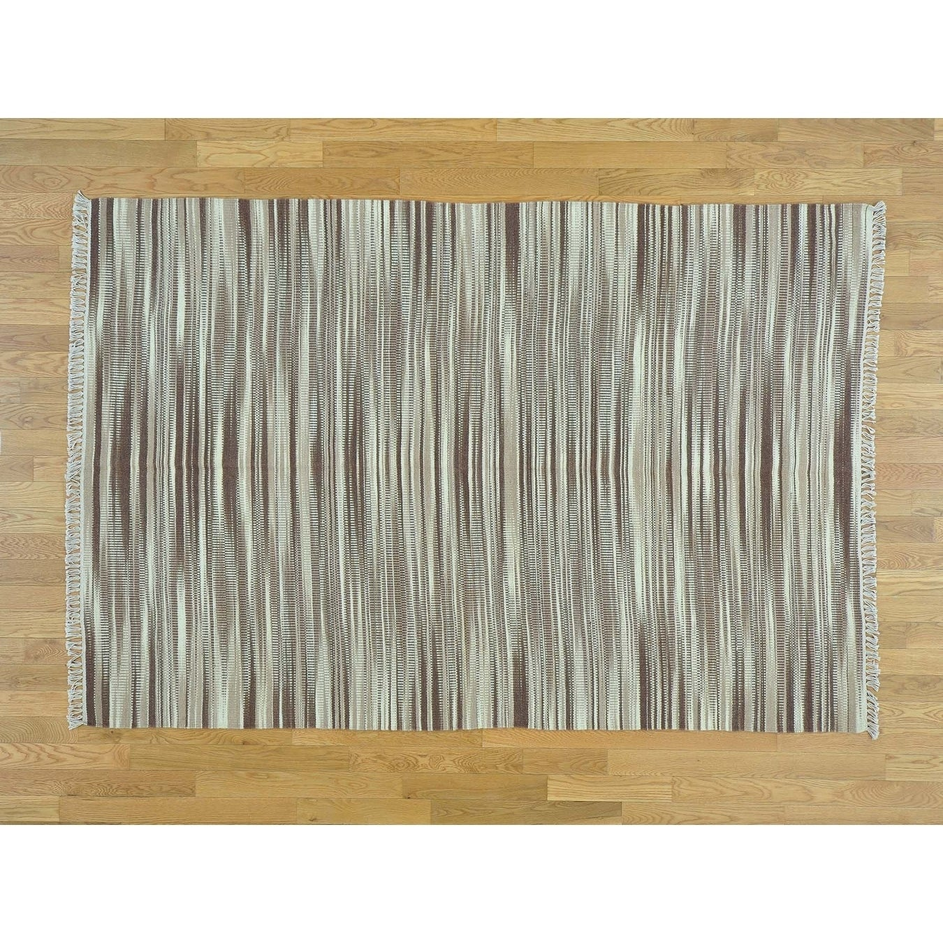 Hand Knotted Multicolored Flat Weave with Wool Oriental Rug - 55 x 82