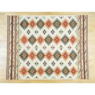 Hand Knotted Ivory Fine Oriental with Wool Oriental Rug