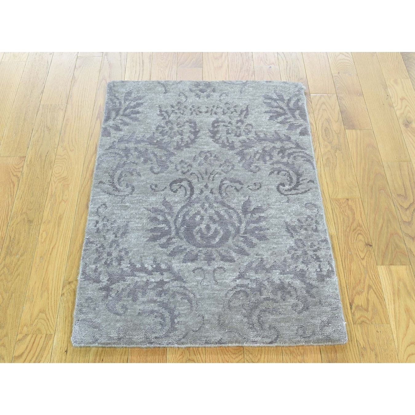 Hand Knotted Grey Modern & Contemporary with Art Silk Oriental Rug - 2 x 3