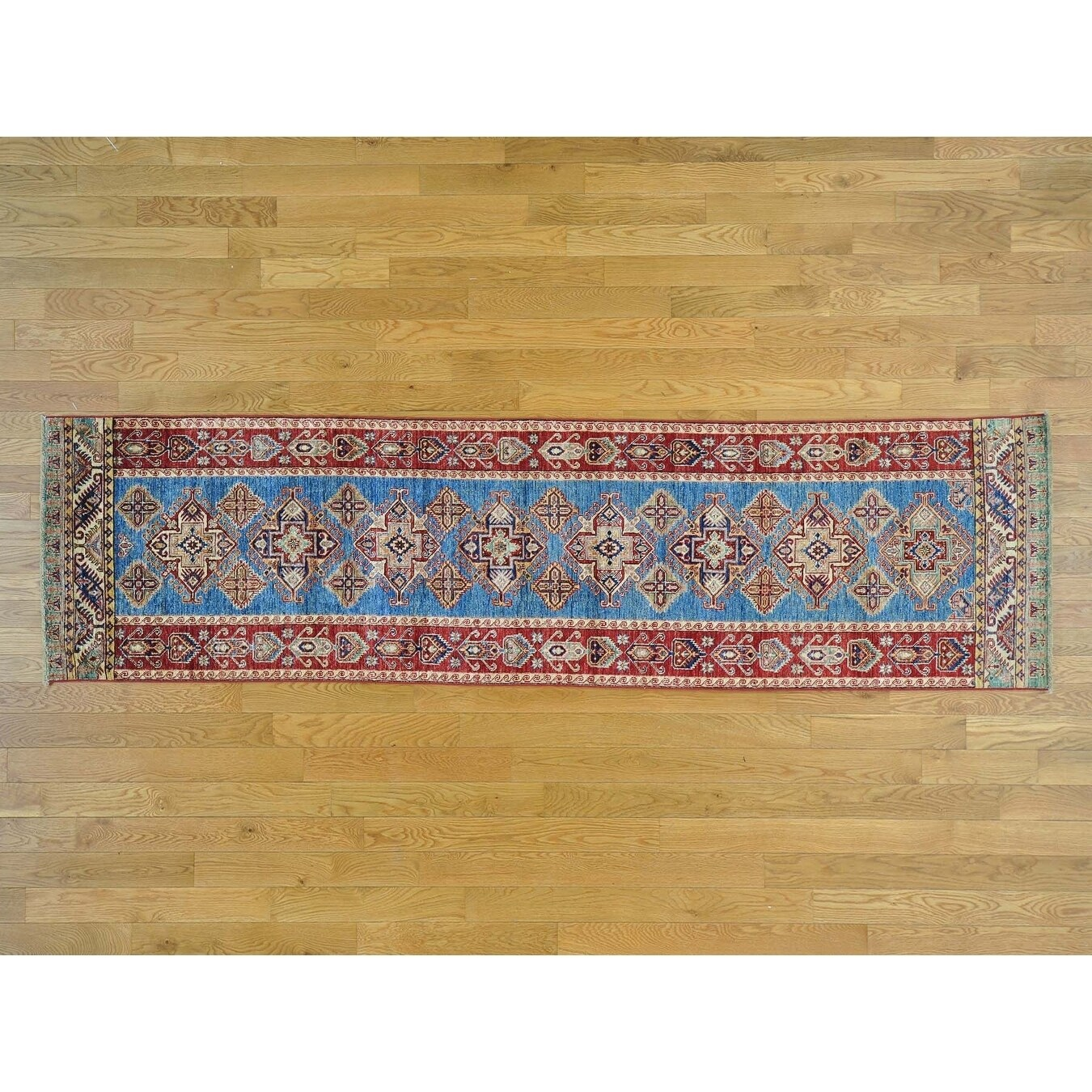 Hand Knotted Blue Kazak with Wool Oriental Rug - 28 x 10