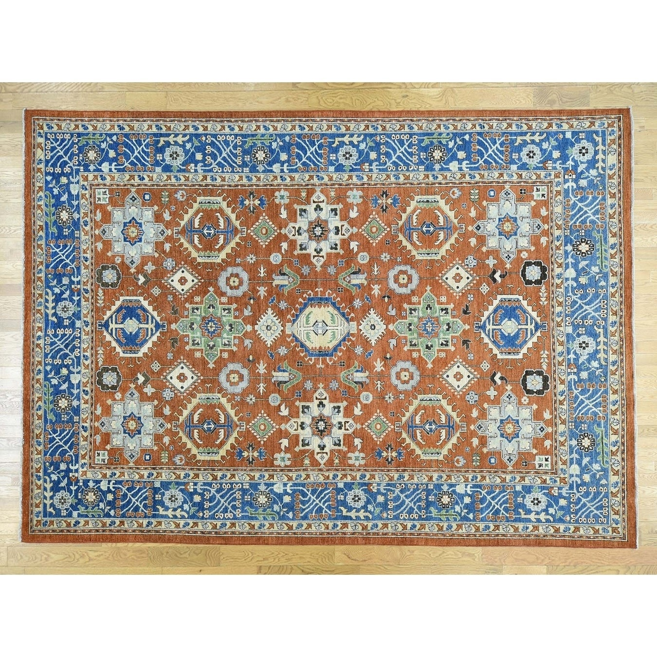 Hand Knotted Red Heriz with Wool Oriental Rug - 10 x 14