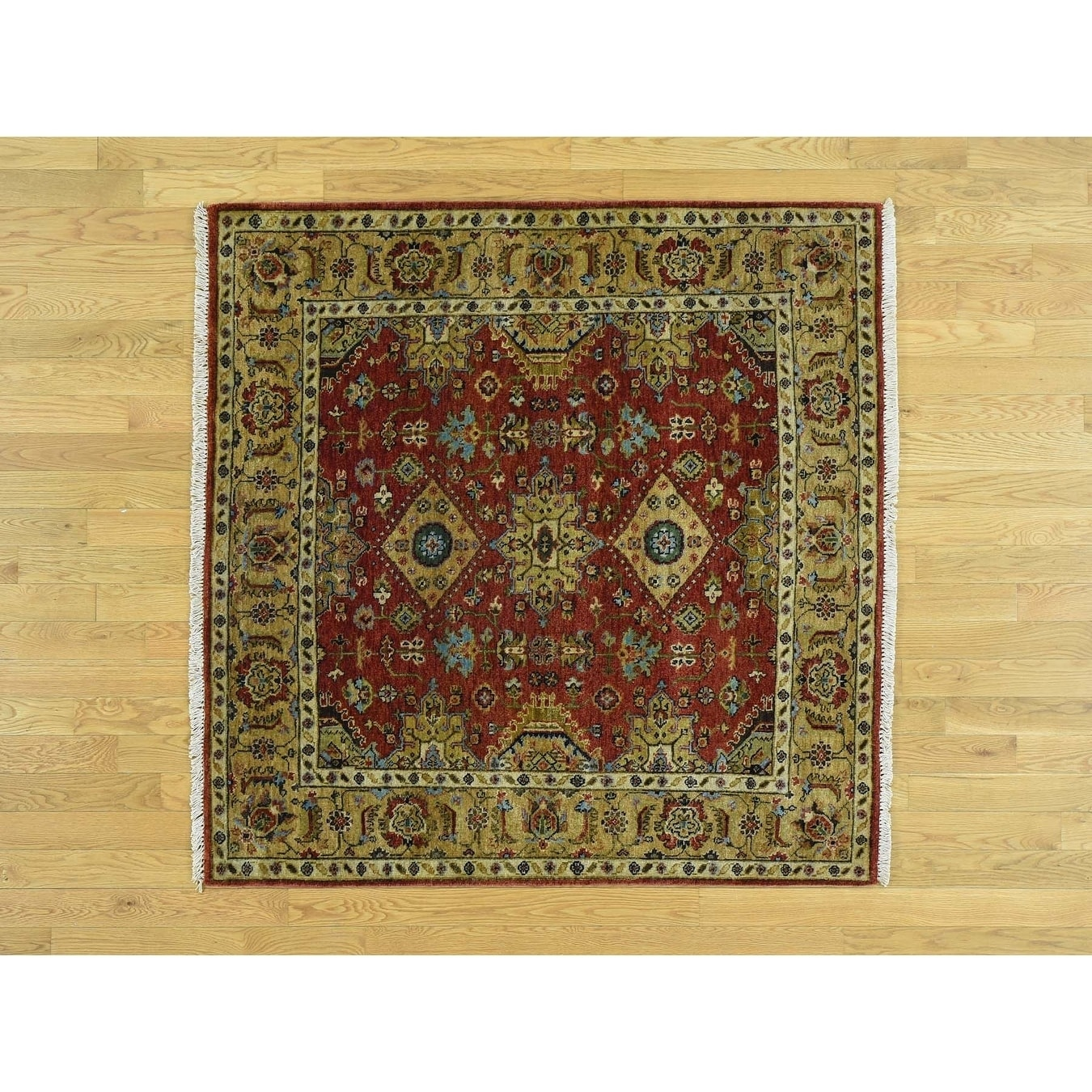 Hand Knotted Red Heriz with Wool Oriental Rug - 5 x 5