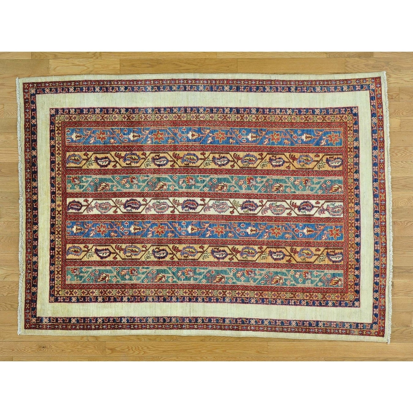 Hand Knotted Multicolored Kazak with Wool Oriental Rug - 49 x 68