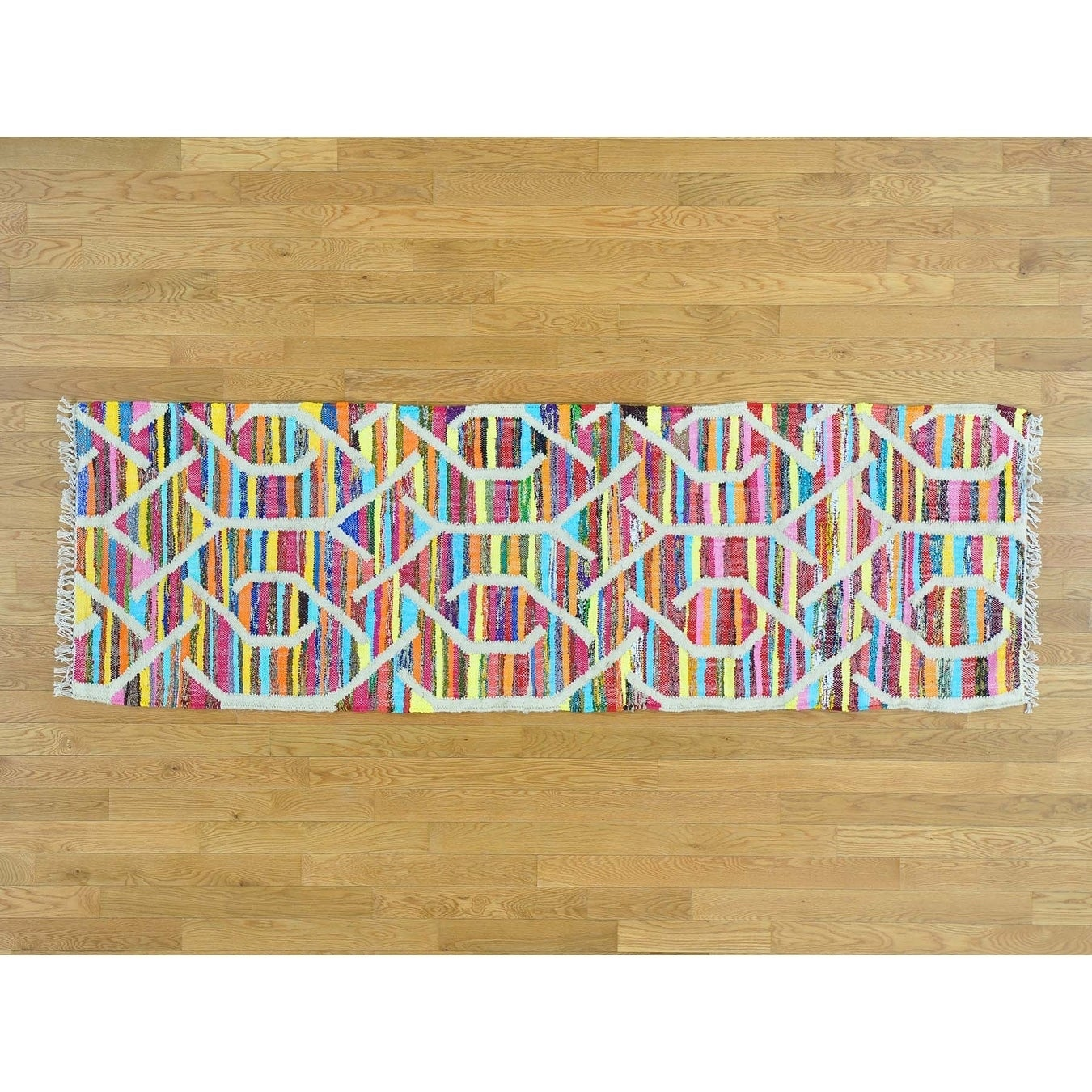Hand Knotted Multicolored Flat Weave with Cotton Oriental Rug - 26 x 8