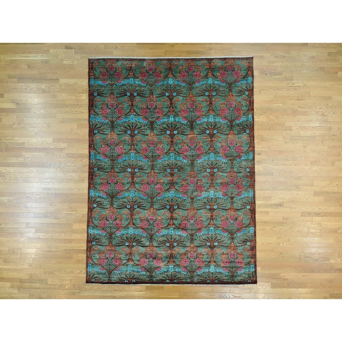 Hand Knotted Green Arts And Crafts with Wool Oriental Rug - 83 x 11