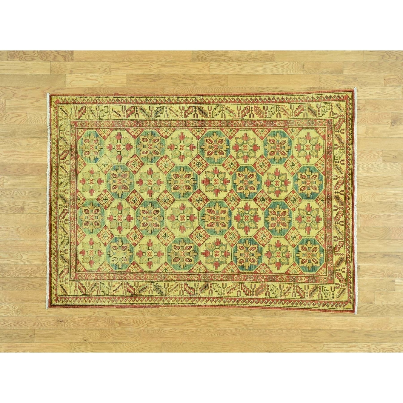 Hand Knotted Yellow Overdyed & Vintage with Wool Oriental Rug - 49 x 67